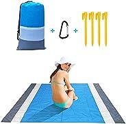 Beach Blanket, 83''×79'' Sand Free and Waterproof Beach Mat, Lightweight Portable Pocket Picni