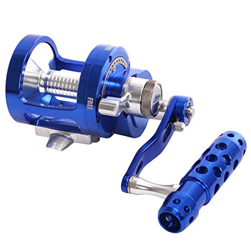 CHANNELMAY Saltwater Jigging Big Game Fishing Reel CNC MACHINED 2-Speed 44LBS Lever Drag DEEP SEA Boat TROLLING Fishing Right Handed ONLY