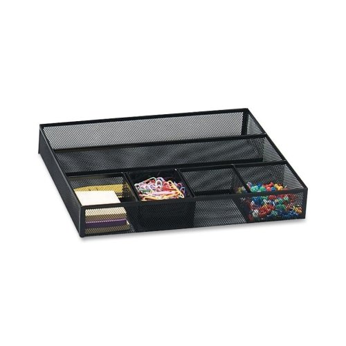 Rolodex Expressions Mesh Deep Drawer Organizer - Drawer - 2.4quot; Height x 15.2quot; Width x 11.9quot; Depth - 6 Compartment(s) - Steel - Black -