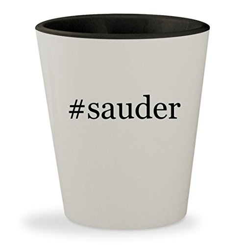 #sauder - Hashtag White Outer & Black Inner Ceramic 1.5oz Shot Glass - Cherry Hill Wine Cabinet