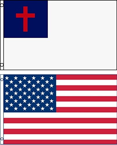 Mission Flags 3x5 ft. US American and Christian Polyester Fl