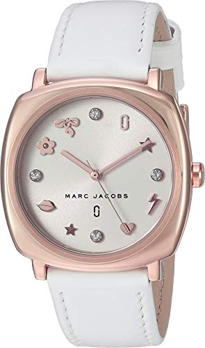 Marc Jacobs Women's Mandy Stainless Steel Japanese-Quartz Watch with Leather Calfskin Strap, White, 0.65 (Model: MJ8678
