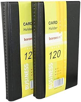 Tarjetero de piel para tarjetas de visita, 120 tarjetas de identificación, tarjetero, organizador de libros (8,9 x 5,3 cm), color negro