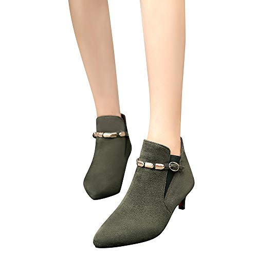 10' Wellington Safety Toe Boots - COPPEN Women Boots High Heels Chain Ankle Suede Pointed Toe Shoes Buckle-Strap