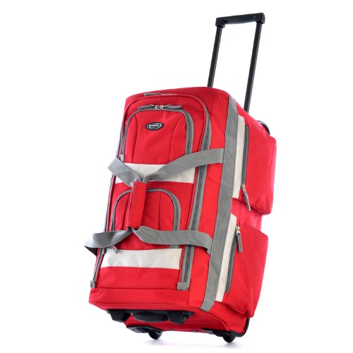 Olympia Luggage 26' 8 Pocket Rolling Duffel Bag, Red, One Size
