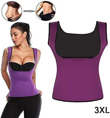 Chaleco de sudor que atrapa el calor, camisa de neopreno para adelgazar, quemador de grasa corporal Entrenador de cintura delgado para que las mujeres pierdan peso, sin cremallera (XXXL,purple): Amazon.es: Deportes y