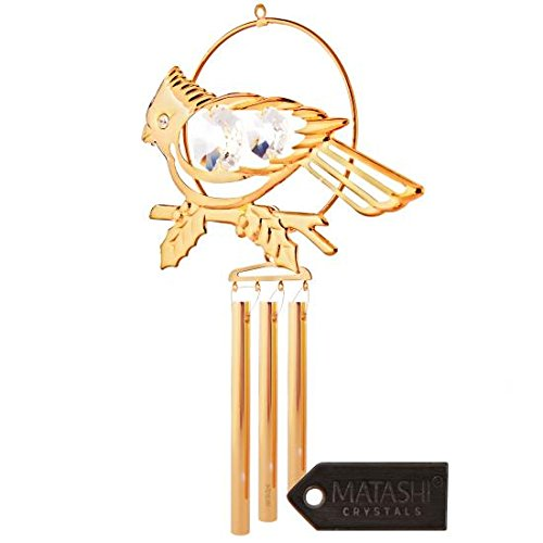 24K Gold Plated Cardinal Wind Chime Made with Genuine Matashi Crystals