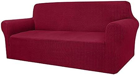 Granbest - Funda de sofá de Alta Elasticidad, diseño Moderno, Jacquard, para el salón, para Perros y Mascotas (3 plazas, Rojo Vino)