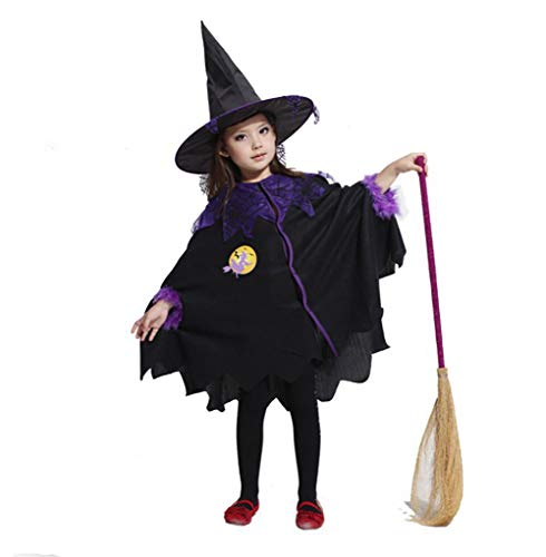 2018 Halloween Kids Witch Clothes Costume Cloak Dress + Hat Outfit Set for 2~13T Toddler Girls 2-3T