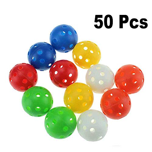 Kofull Colored Golf Practice Ball, 40mm Hollow Sports Training Balls Plastic Airflow Good for Your Pets- 50 / Pack (Pro V Golf Balls Best Price)