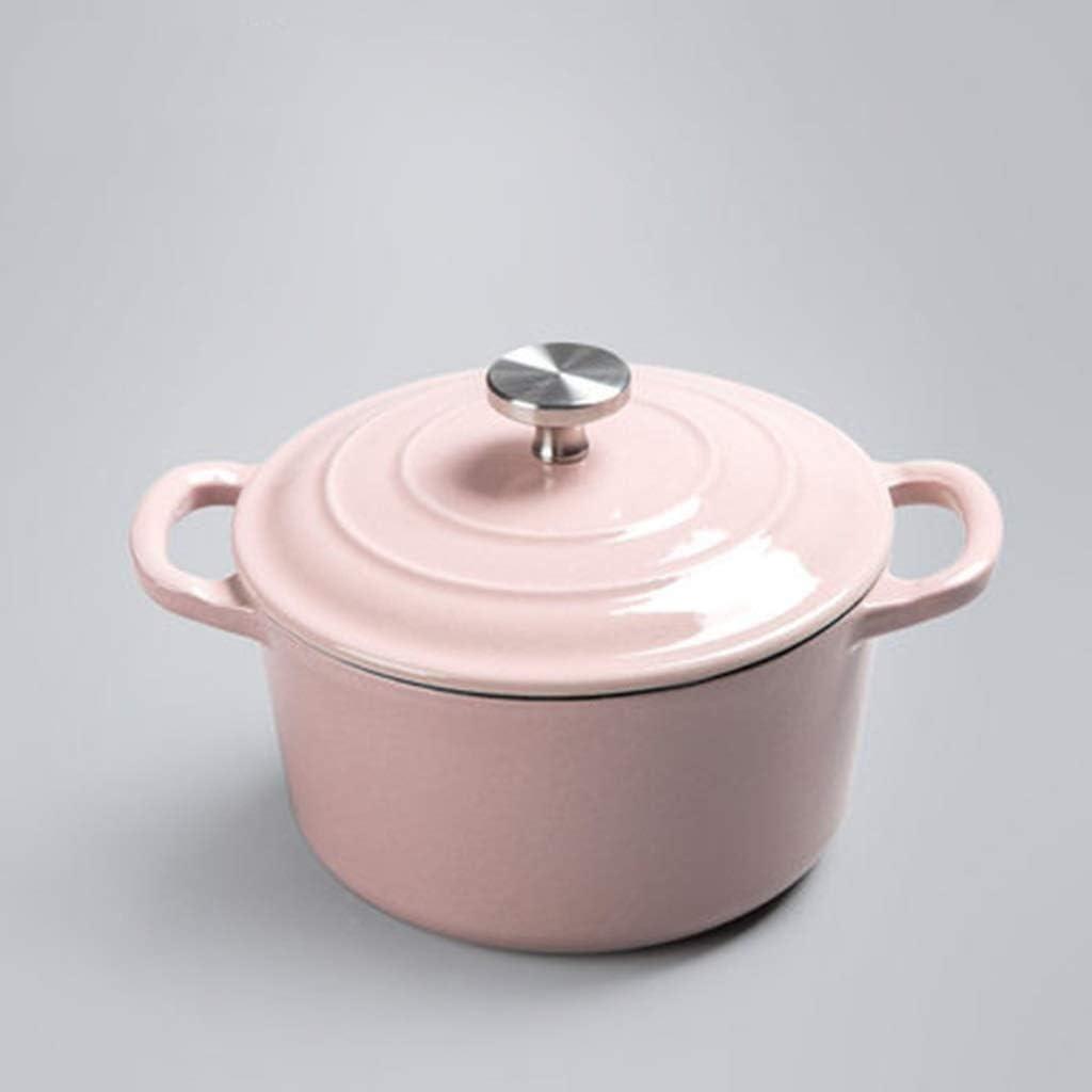 Bbhhyy Sartenes for Leche, cacerolas, Olla de Sopa, Cocina, Arte, Esmalte de Hierro Fundido, binaural, alimento for bebé, Olla, cazuela y Sopa de Horno, Mini estofado16cm (Color : Pink): Amazon.es: Hogar