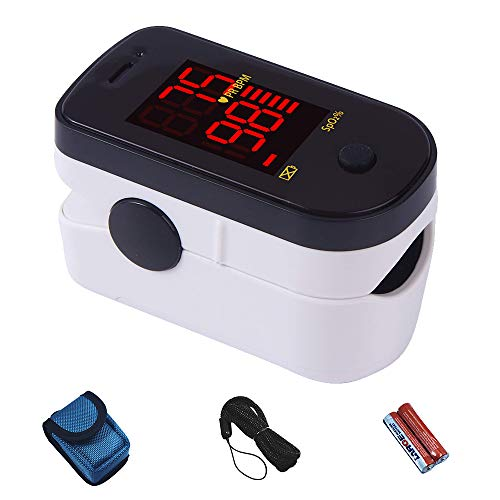 - ChoiceMMed Black Finger Pulse Oximeter - Blood Oxygen Saturation Monitor Great as SPO2 Pulse Oximeter - Portable Oxygen Sensor with Included Batteries - O2 Saturation Monitor with Carry Pouch