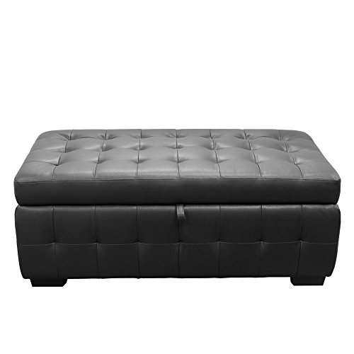 Diamond Sofa Zen Collection Bonded Leather Lift Top Tufted Storage Trunk - Black