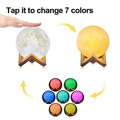 Moon Lamp,16 Colors LED 3d Print Moon Light with Stand & Remote&Touch Control and USB Rechargeable, Moon Light Lamps Night Lights for Baby Kids Lover Birthday Party Gifts-3.1 inch
