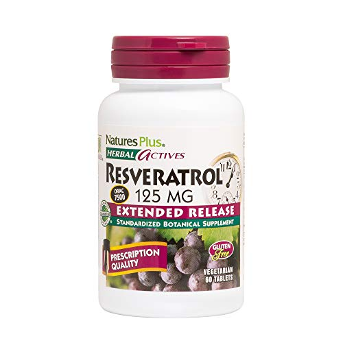 Natures Plus Herbal Actives Resveratrol - 125 mg, 60 Vegetarian Tablets, Extended Release - Prescription Quality Antioxidant Supplement - Gluten Free - 30 Servings ()