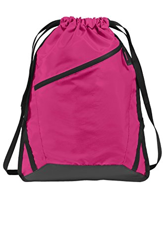 (Drawstring Backpack with Zippered Front Pocket Durable Reinforced Seams Gym, Team Training, Hiking Cinch Bags (Pink Azalea/ Black))