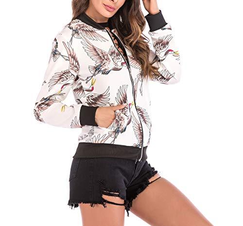 Corto E Bianca1 fashion Lunga Casual Stampa Donna Primavera Autunno Giacca Tops Baseball Bomber Manica Simple Giacche Cappotto Giovane Outerwear Moda Coat Blouse Jacket 7nxSwqSH