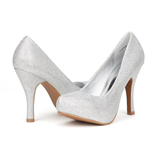 DREAM PAIRS GLORIA-PLAIN Women's New Modern Classic Close Toe Dress Platform Pump Elegant Versatile Stiletto Heel,GLORIA-PLAIN-SILVER GLITTER,8