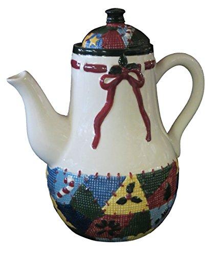 Christmas Quilt Ceramic TeaPot / Coffee/ Milk Dispenser