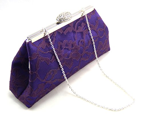 Regal Purple, Eggpant Lace and White Bridal Clutch, Bridesmaid Gift, Mother of the Bride Clutch, Bridesmaid Clutch