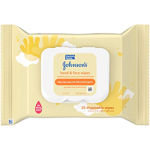 Johnson's Hand & Face Portable Wipes 25 count Alcohol Free (pack of 4)