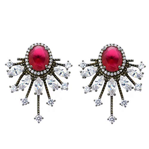 - Red CZ Oval Black Plated Sunburst Women Fashion Stud Earrings
