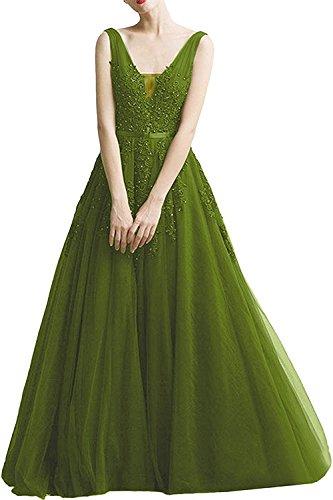 Rock La Damen Abendkleider Abschlussballkleider Prinzess Linie Romantisch Olive Braut Spitze mia A Gruen Promkleider AqWrAwPE