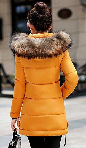 Femme Manteau Jacket Faux Jaune Chaud Magike Long Hiver Capuche Causal Blouson Marron Fourrure Doudoune Veste Ut4ffW