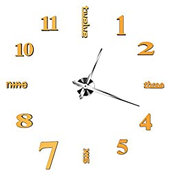 MuLuo New Large Modern DIY 3D Wall Clock Home Decor Mirror Surface Sticker Gold