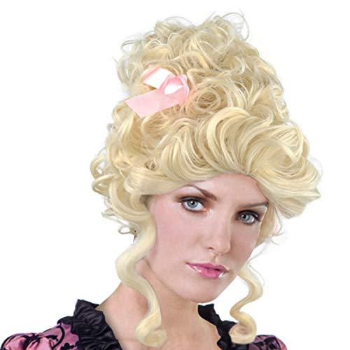 18th Century Baroque Marie Antoinette Wigs Ladies Adult Halloween Cosplay Accessories (Golden Medieval)