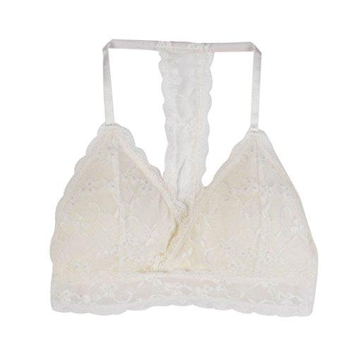 37564c567eb Bornbayb Lace Racerback Bralette Full Coverage Padded Wireless Lace Halter  Bra for Women Girls