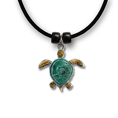"Hawaiian Green Sea Turtle Necklace -Pendant Jewelry – Enamel Colors Hand Painted in USA - 18"" Black (Hawaiian Beauty Costume)"