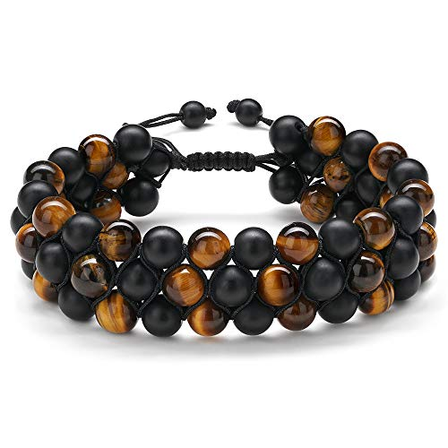 Gifts for Men Beaded Bracelet Jewelry - Natural Tiger Eye Mens Beads Bracelets Black Braided Cord Lava Rock Stone Essential Oils Anxiety Aromatherapy Bracelets Birthday Jewelry Gifts for Men