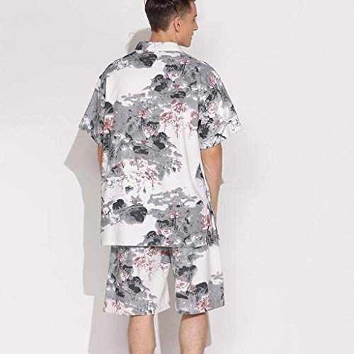 Pigiama e lun e in lino tasche femminili top Completo da maschili da pigiama con Pajamas Accappatoio due Modelli scollo V a con cotone in completi cotone lusso di manica Grande pantaloncini Accappatoio 4wqTA6xtO