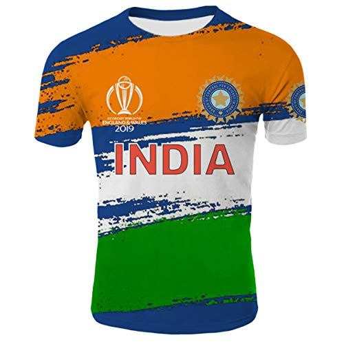 Cricket India Crest World Cup 2019 Shirt Unisex 3D Novelty T-Shirts M ()