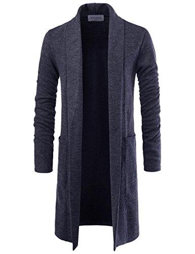 NEARKIN NKNKTNC803 Mens Slim Cut Look Knitwear Shawl Collar Long Cardigan Sweater Charcoal US XL(Tag Size XL) (Cardigan Long Mens)