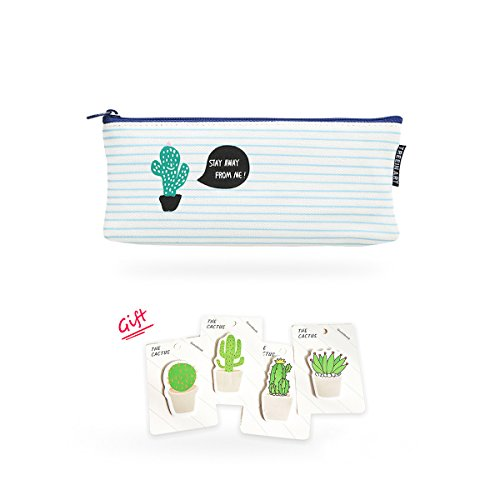 Trademark Stationary (Dulcii Students Canvas Pencil Case Pen Bag Pouch,Super Large Capacity School Stationary Case,Cactus Pattern)