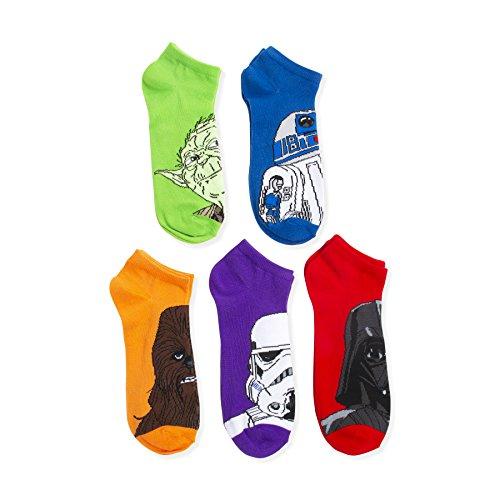 Star Wars Men's Classic Big Face 5 Pk No Show Socks -