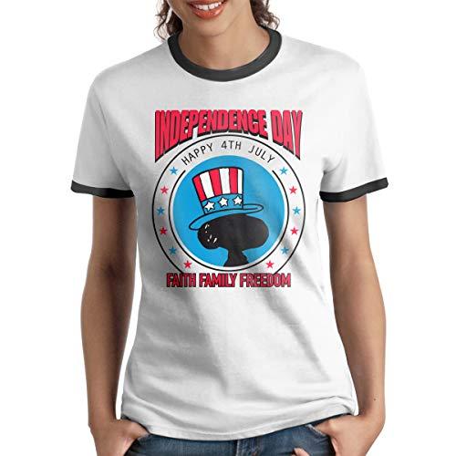HAIGUANGZ Customized July 4th USA Faith Family Freedom Ringer Shirt O-Neck for Girls Black XL