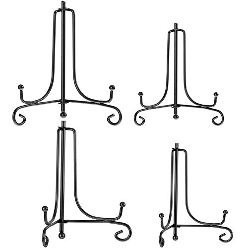 Tatuo 4 Packs Iron Display Stand, Iron Easel Plate Display, Photo Holder Stand for Home Decoration (Black, 6 Inch and 8 Inch) (Iron Black Easel)