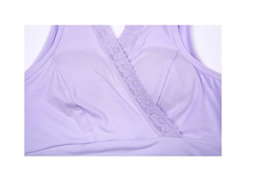 Rims Maternity style Breast Purple Underwear Nursing Bra Refago Lace Without Cross Pad Vest OCtwBYE7q