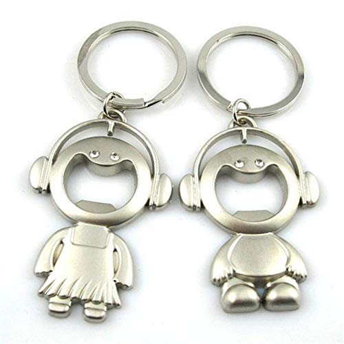 Fan-Ling 2Pcs/1 Pair Couple Key Chain Ring Boy&Girl Keychain Keyring Set Bottle Opener,Keychain,Key Ring, Key Chains,Cell Phone Chain,Glass Pendant Holder,Bag Pendant Car Accessory,Cute Ornaments