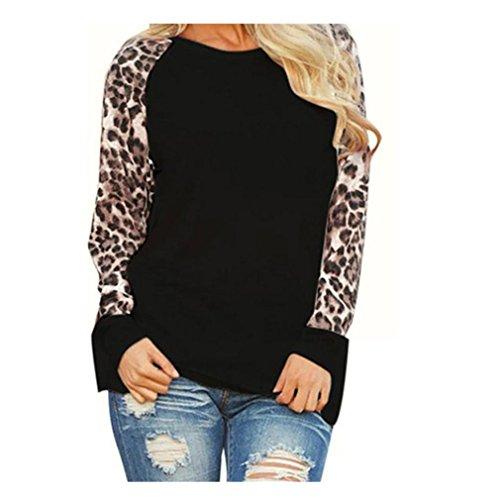 Mr.Macy Womens Leopard Blouse Long Sleeve Fashion Ladies T-Shirt Oversize Tops (L, - Macys Hilo