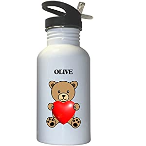 Olive White Stainless Steel Water Bottle Straw Top, 1009