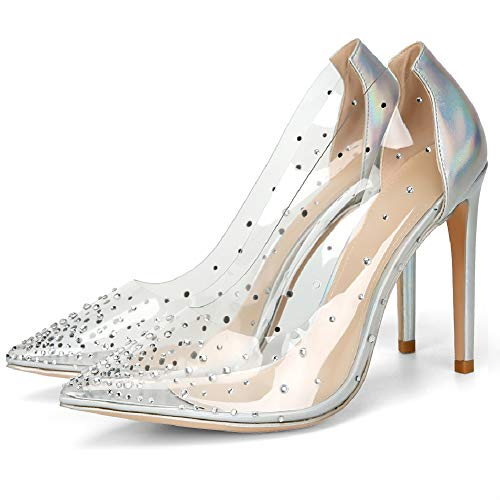 VANDIMI Clear High Heels for Women Stiletto Pointed Toe Pumps with Rhinestones Sexy Party Prom Dress Shoes Silver Blue 8 for $<!--$59.00-->