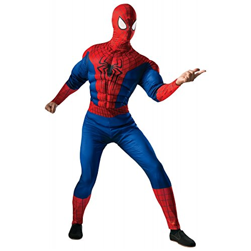 Rubie's Costume Men's Marvel Universe, The Amazing Spider-man 2 Deluxe Muscle-chest Spider-man Costume, Multicolor, X-Large -