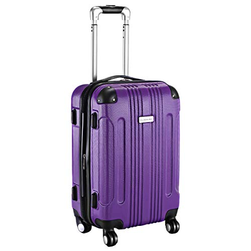 (Goplus Carry On Luggage 20-inch ABS Expandable Hardside Travel Bag Trolley Suitcase GLOBALWAY (Purple))