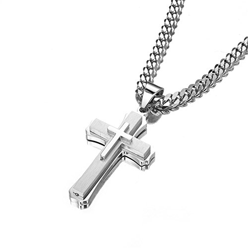 W&W Lifetime Stainless Steel Mens Womens Double Cross Necklace Lord's Prayer Pendant 24 inches, Silver Color