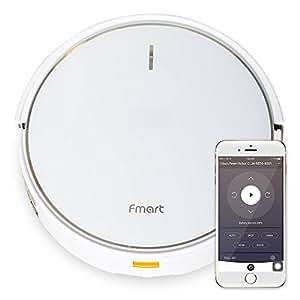 Fmart Casa Robot Aspirador FM-R570 Limpieza de Suelos para Vida inteligente, Robot Wi-Fi App Vacío Mojado en Seco con Depósito de Agua, Panel de Modo Mixto, Cubo de Polvo Grande, Batería de Litio, Blanco (EU Estándar)