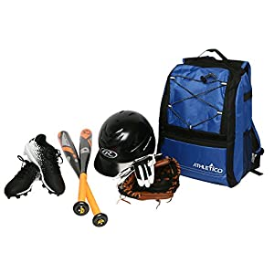 Athletico Youth Baseball Bat Bag - Backpack for Baseball, T-Ball & Softball Equipment & Gear for Boys & Girls | Holds Bat, Helmet, Glove | Fence Hook (Blue)